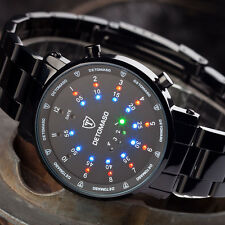 DETOMASO Spacy Timeline Wrist Watch Binary LED Display Stainless Steel Black New