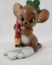 Josef Original Mouse with Christmas List Figurine Holly Pencil Merry Xmas