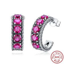 Women Accessries Gift Round Cut Ruby 100% 925 Sterling Silver Clip Hook Earrings