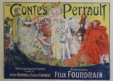 """""""LES CONTES DE PERRAULT"""" Affiche originale entoilée Litho E. SMITH 1913"""