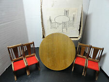 "Doll House Furniture Round 5"" Table & 4 Straight Back Chairs Wooden Vintage VGC"