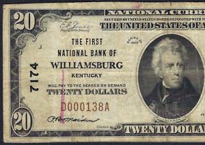 KY 1929 $20 ♚♚WILLIAMSBURG, KENTUCKY♚♚  PCGS VF 20 RARE NOTE!!!