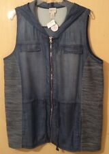 BNWT ZENERGY BY CHICOS Denim WAISTCOAT HOODIE JACKET SET (UK SZ 18-20) US SZ 2XL