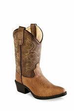 Old West Kids Western Cowboy Boots Crackle Leather Pointed Toe Tan Vintage/Brown