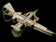 10k Yellow Gold Crown Of Thorns Nail Cross Genuine Diamond Pendant Charm .38 Ct