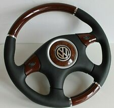 Steering Wheel VW Wood Leather Scirocco Golf Jetta Mk1 Mk2 Beetle Bug 75-88