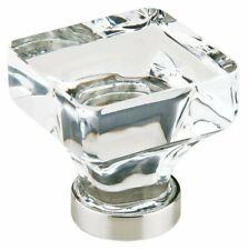 "Emtek Lido Crystal Cabinet Knob Satin Nickel 1-3/8"""