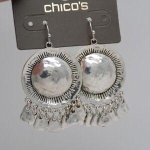 RV$29 Chico's jewelry silver tone unique alloy bib tassel hat earrings drop hoop