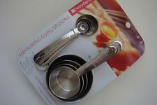 New Everyday Living Basic Set of 8 Measuring Cups & Spoons Set Stainless Steel