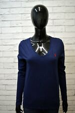 Maglia Donna RALPH LAUREN Taglia M Maglietta Blusa Shirt Woman Manica Lunga Blu