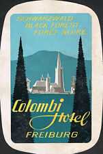 Colombi Hotel ~ Freiberg GERMANY ~ Black Forest ~ Poster Style Luggage Label