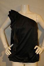 Lane Bryant Womens Top Black Dressy One Shoulder Blouse Ruffle Size 16 WT B07