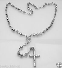 """6mm 24"""" Anti-Tarnish Solid Rosary Cross Chain Necklace Real 925 Sterling Silver"""