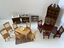 New ListingDollhouse Miniatures Lot of 18 Kitchen Furniture Dining Room Hutch Table Chairs