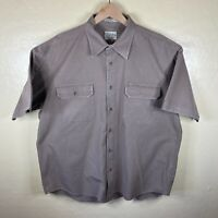 Cabelas Stonewash Canvas Button Up Shirt Mens XL Tan Short Sleeve Cotton