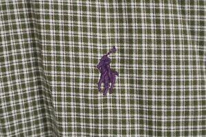 Ralph Lauren Mens Sz Large Olive Check Long Sleeve Classic Fit Shirt Purple Pony
