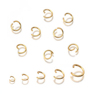 100pcs/lot Stainless Steel Gold Plated Open Jump Rings Connectors Accessories