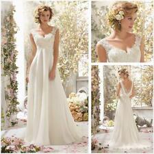 2017 New White/Ivory Chiffon long Wedding Dress Bridal Gown Size 6 =18  sd