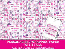 Personalised Happy 21st Birthday Wrapping paper - Pink 21st Gift Wrap