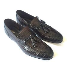 NWT $11.3k TOM FORD Mens Brown Genuine Crocodile Skin Leather Loafer 8 AUTHENTIC