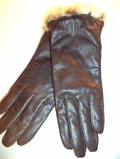 Fownes Leopard Cuff Trim Thinsulate Genuine Leather Gloves,Brown, XL.