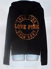 "Victoria's Secret Pink ""Love Pink"" Bling Sequin Full Zip Velour Hoodie Black M"