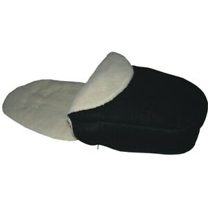 Hand Tailored Black/Faux Lambs Fleece Footmuff - Select your model of pushchair