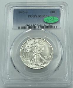 1946-S PCGS & CAC MS66+ Walking Liberty Silver Half Dollar Blast White Coin