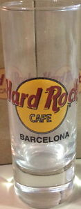"Hard Rock Cafe BARCELONA 4"" SHOT GLASS Orange Classic HRC Logo w/BOLD BLACK Text"