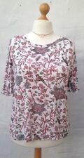 NEXT Size 16 Short Ruffle Sleeve Floral & Bird Patterned Tie Back Top
