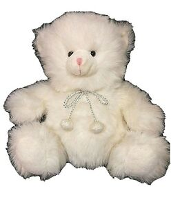 """Sparkle the Teddy Bear 14"""" Pure White Plush Russ Berrie & Co for Target"""