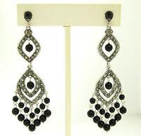 Marcasite Sterling Silver Large Long Dangle Chandelier Black Onyx Earrings