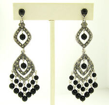 Marcasite Sterling Silver Large Long Dangle Chandelier Black Onyx Earrings