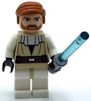 LEGO OBI WAN MINIFIGURE JEDI MASTER BLUE LIGHTSABER HAIR EPISODE 2 STAR WARS