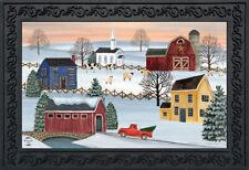"""Winter Saltboxes Primitive Doormat Covered Bridge Indoor Outdoor 18"""" x 30"""""""