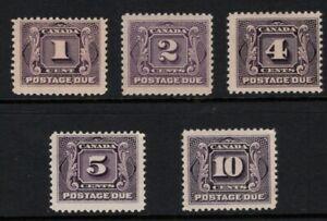 Canada > Scott J1-J5 MH Postage Due Stamps - SCV $240.00