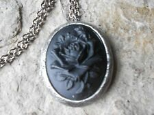 BLACK ROSE CAMEO ANTIQUED SILVER PLATED LOCKET -VINTAGE, GOTH, WITCH, WICCAN