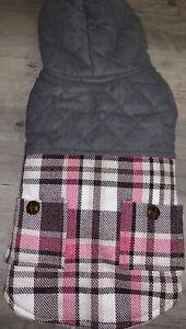 TRACK & TAIL PLAID DOG COAT, PINK & PURPLE DOG Winter Hoodie Coat SZ Medium~ NWT