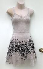 FREE PEOPLE Lace Sheath Dress Bone & Black Velvet Embossed Detail US size S
