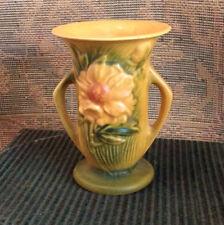 "Roseville Peony Vase Brown/Tan Background 59-6"" Yellow Flower Green Base ~ 1942"