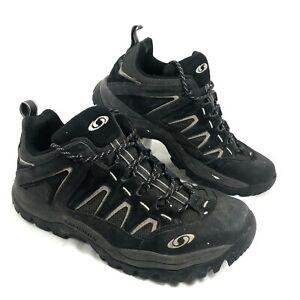 GUC Men's Salomon Low Hiking Trail Shoes Black leather Sz 10.5 M
