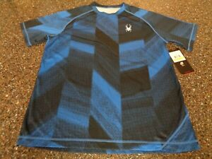 Spyder Men's Alps Short Sleeve Tech Tee Medium Blue Halftone Print NWT Training