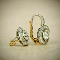 4.0Ctw Diamond 14K White Gold Over Art Deco  Antique Vintage Halo Earrings