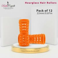 Orange 22mm/0.87in - Pack of 12 - Hourglass All Hair Types Unisex Rollers