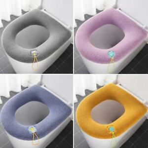 Soft Toilet Seat Cover x2 Warm Fluffy Padded Pink Blue Bathroom Washable Kids UK
