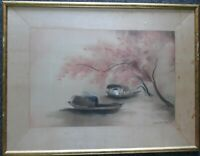 "NGUYEN DIEU THUY VIETNAMESE LARGE VINTAGE WATERCOLOR/SILK ""VIETNAMESE BOATS"""