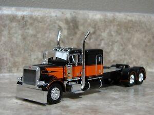 DCP 1/64 Black Orange Flattop Peterbilt Semi Truck Farm Toy