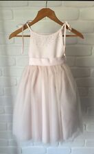 Baby Pink Flowergirl Dress - Satin, Tulle & Beading With Bow Sash AS NEW Size 2