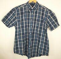 Nautica Mens Size XL Blue White Yellow Striped Button Down Short Sleeve Shirt