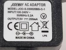 Jodeway AC Power Adaptor 3V----300mA  JOD-S-030020BS-C-1  FREE P&P
